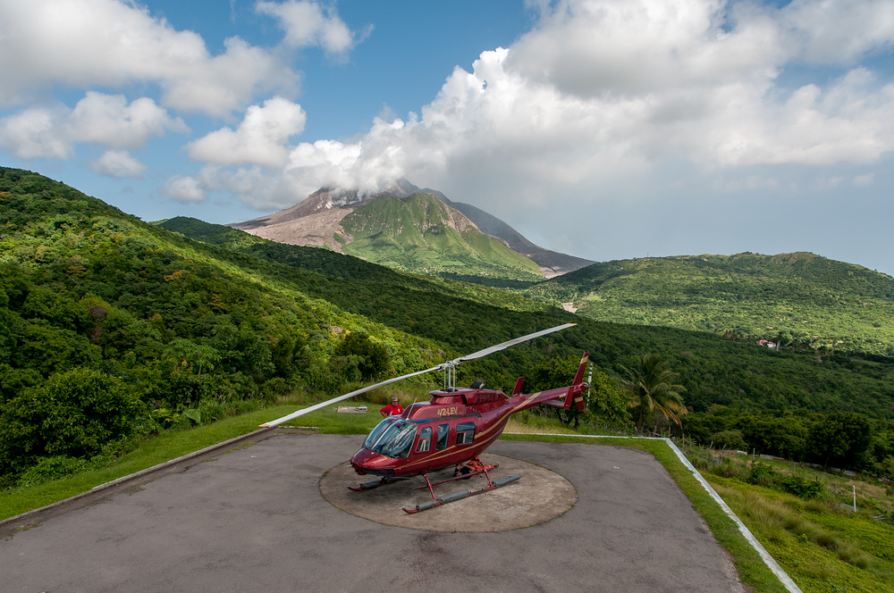 Helicopter on the Caribbean Island of Montserrat